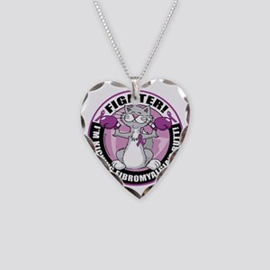 Fibromyalgia-Fighter-Cat Necklace Heart Charm