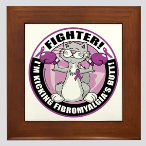 Fibromyalgia-Fighter-Cat Framed Tile
