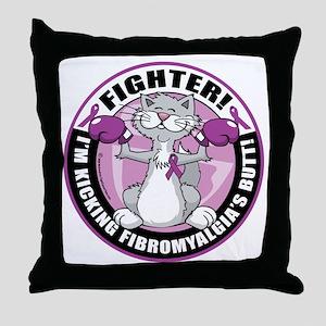 Fibromyalgia-Fighter-Cat Throw Pillow