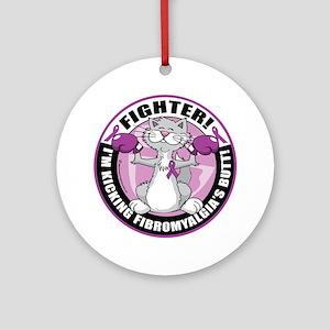 Fibromyalgia-Fighter-Cat Round Ornament