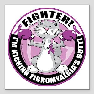 """Fibromyalgia-Fighter-Cat Square Car Magnet 3"""" x 3"""""""