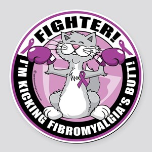 Fibromyalgia-Fighter-Cat Round Car Magnet