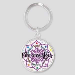 Fibromyalgia-Lotus Round Keychain