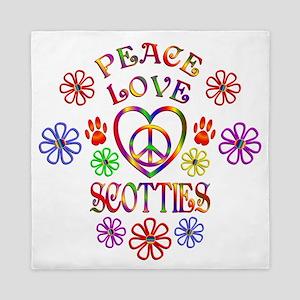Peace Love Scotties Queen Duvet