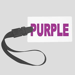 think-PURPLE-Fibromyalgia-blk Large Luggage Tag