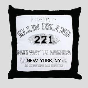 ellis island dark Throw Pillow