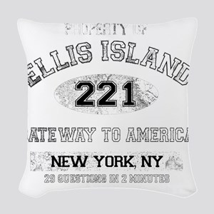 ellis island dark Woven Throw Pillow