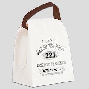 ellis island dark Canvas Lunch Bag
