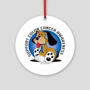 Colon-Cancer-Dog Round Ornament