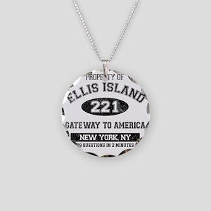ellis island Necklace Circle Charm