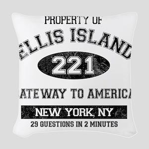 ellis island Woven Throw Pillow