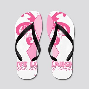 PinkribbonLLLtr Flip Flops