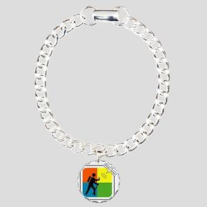 GeoCache Man Charm Bracelet, One Charm