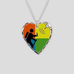 GeoCache Man Necklace Heart Charm