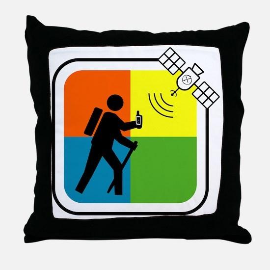 GeoCache Man Throw Pillow