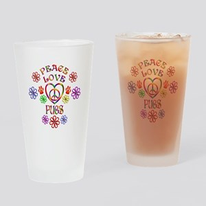Peace Love Pugs Drinking Glass