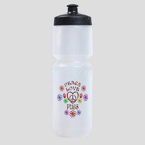 Peace Love Pugs Sports Bottle