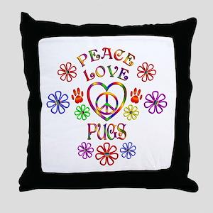 Peace Love Pugs Throw Pillow