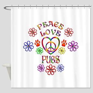 Peace Love Pugs Shower Curtain