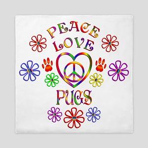 Peace Love Pugs Queen Duvet