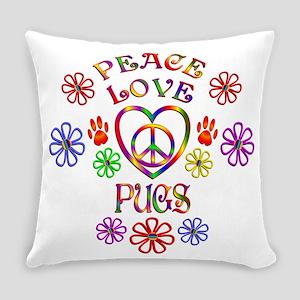 Peace Love Pugs Everyday Pillow