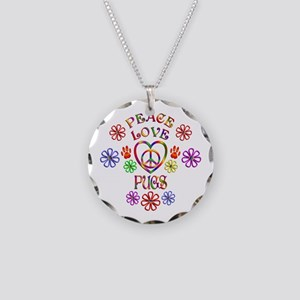 Peace Love Pugs Necklace Circle Charm
