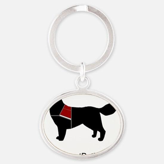 Please Dont Pet Me Dog (Bright Vest) Oval Keychain