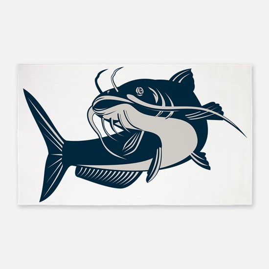 catfish swimming up 3'x5' Area Rug