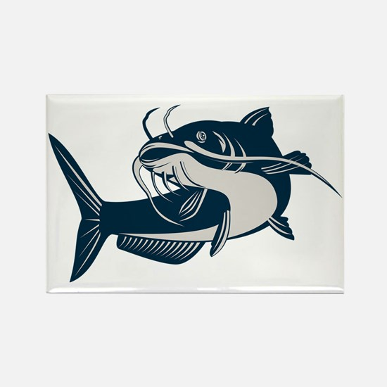 catfish swimming up Rectangle Magnet
