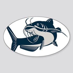 catfish swimming up Sticker (Oval)