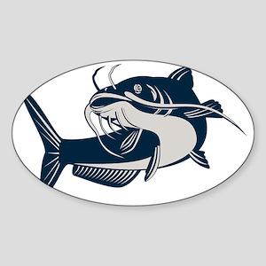 catfish swimming up Sticker (Oval)