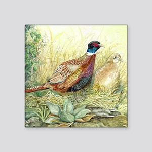 "Pheasants Square Sticker 3"" x 3"""