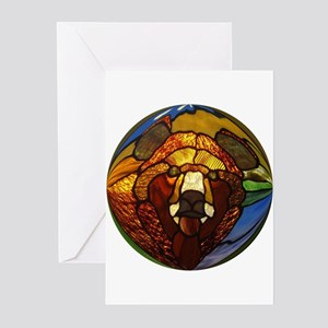 STAINED GLASS BEAR HEAD Greeting Cards (Package 10