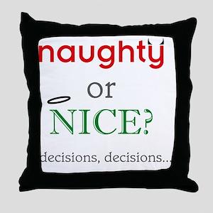 naughty_or_nice_light Throw Pillow