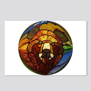 STAINED GLASS BEAR HEAD Postcards (Package of 8)