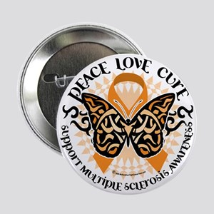 """Multiple-Sclerosis-Butterfly-Tribal-2 2.25"""" Button"""