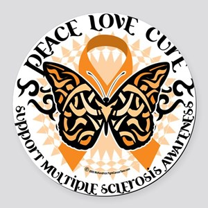 Multiple-Sclerosis-Butterfly-Trib Round Car Magnet