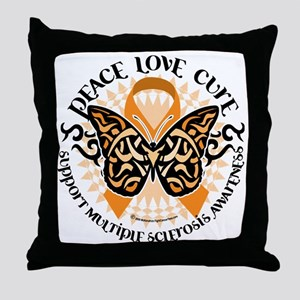 Multiple-Sclerosis-Butterfly-Tribal-2 Throw Pillow