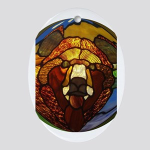 STAINED GLASS BEAR HEAD Oval Ornament