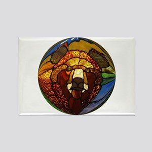 STAINED GLASS BEAR HEAD Rectangle Magnet