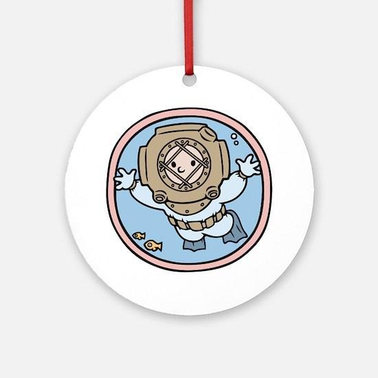 diver-womb-T Round Ornament