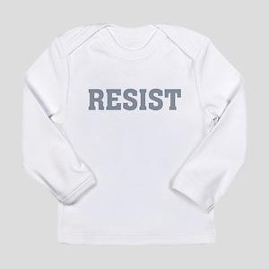 Resist Typography in Grey Long Sleeve T-Shirt