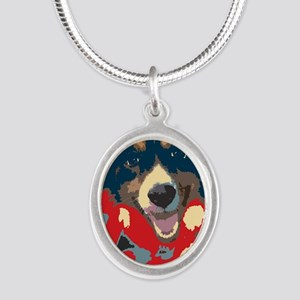 woof Silver Oval Necklace