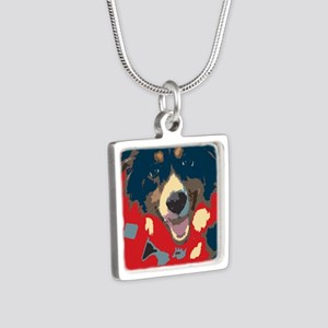 woof Silver Square Necklace