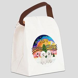 XMusic2 - Two Bichon Frise Canvas Lunch Bag