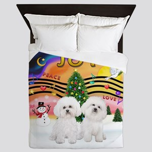 XMusic2 - Two Bichon Frise Queen Duvet