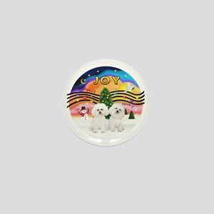 XMusic2 - Two Bichon Frise Mini Button