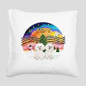 XMusic2 - Two Bichon Frise Square Canvas Pillow