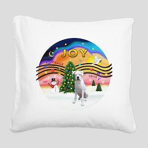 XMusic2-White Boxer Pup Square Canvas Pillow