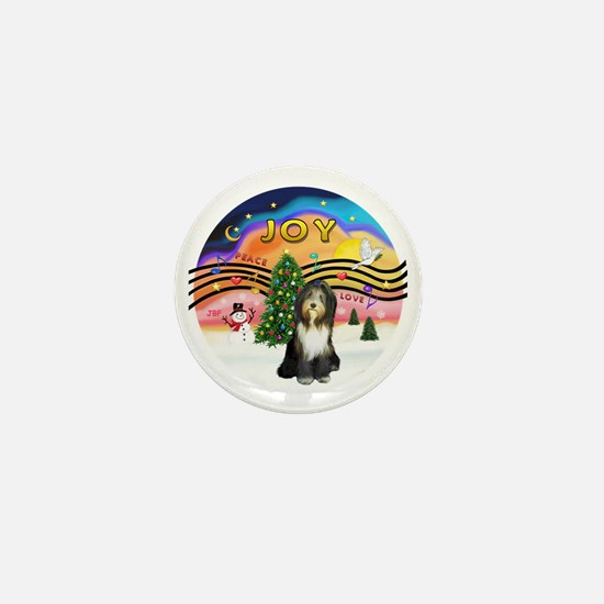 XMusic2-Bearded Collie (brn-w) Mini Button
